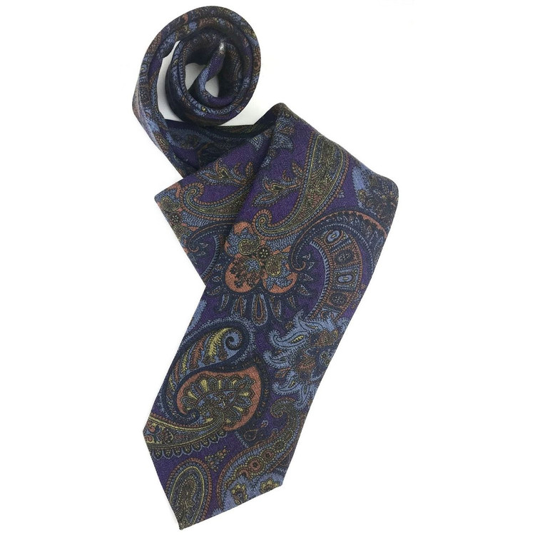 Best Of Class Brown And Blue Stripe Woven Silk Tie