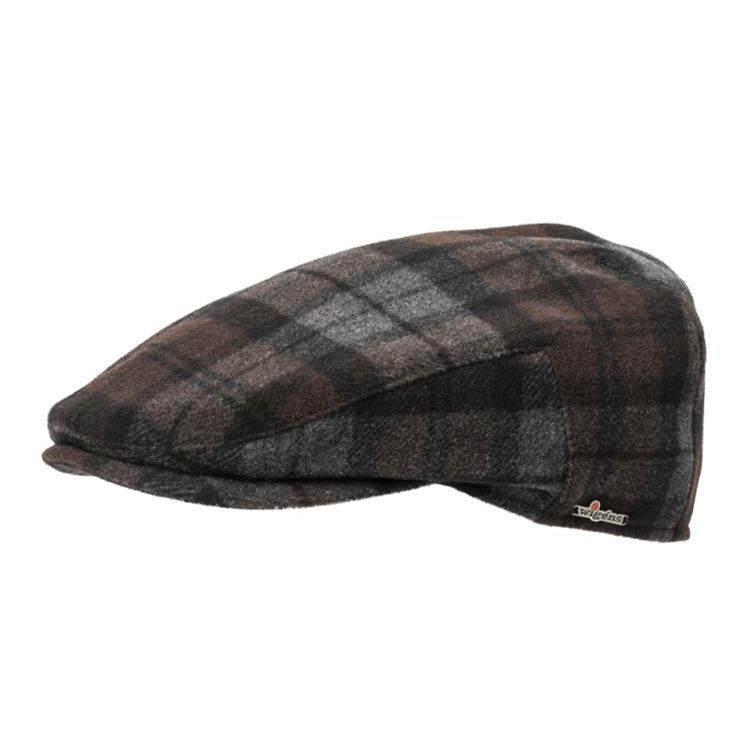 3221812aadf Ivy Slim Canada Check Wool and Cashmere Cap in Dark Brown by Wigens ...