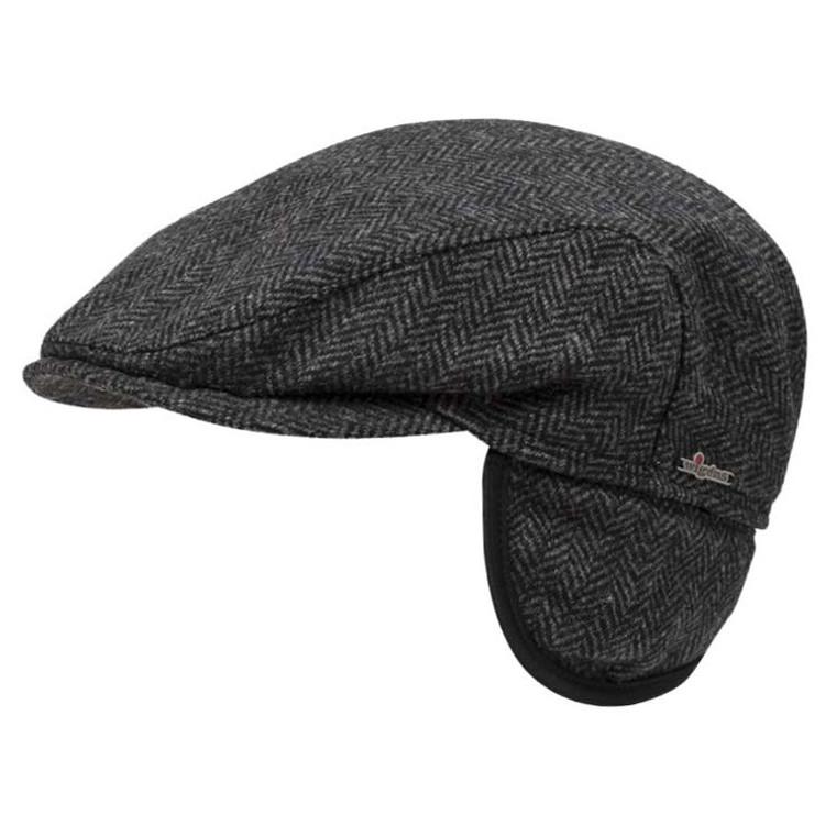 ec0d79baa43b3 Ivy Slim Herringbone Cap with Earflaps in Dark Grey Melange by Wigens