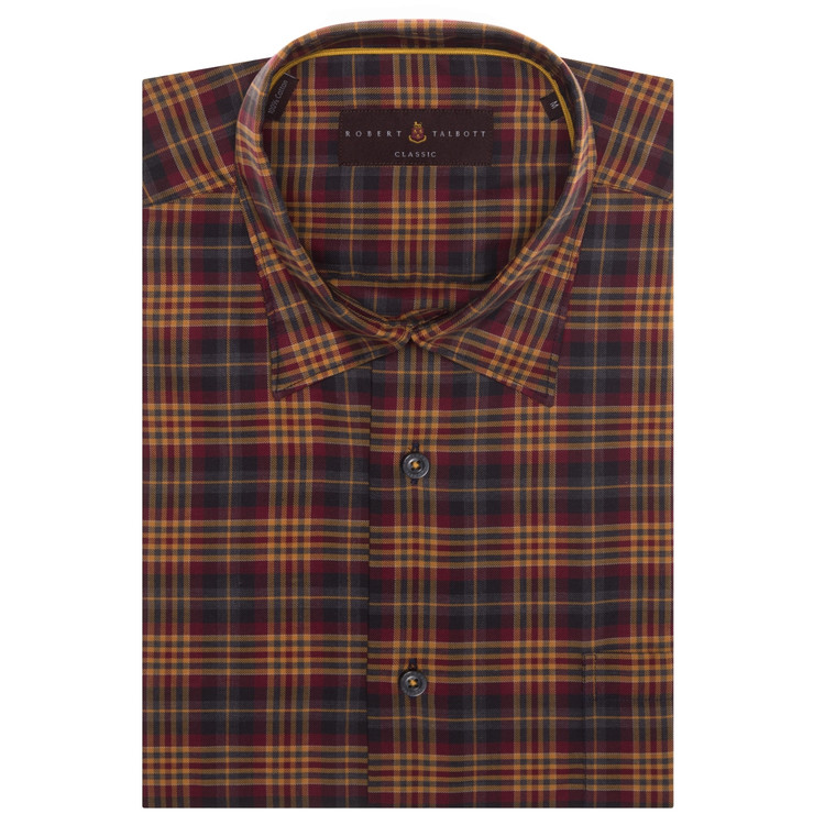Gold, Charcoal, and Brick Plaid 'Anderson II' Sport Shirt by Robert Talbott