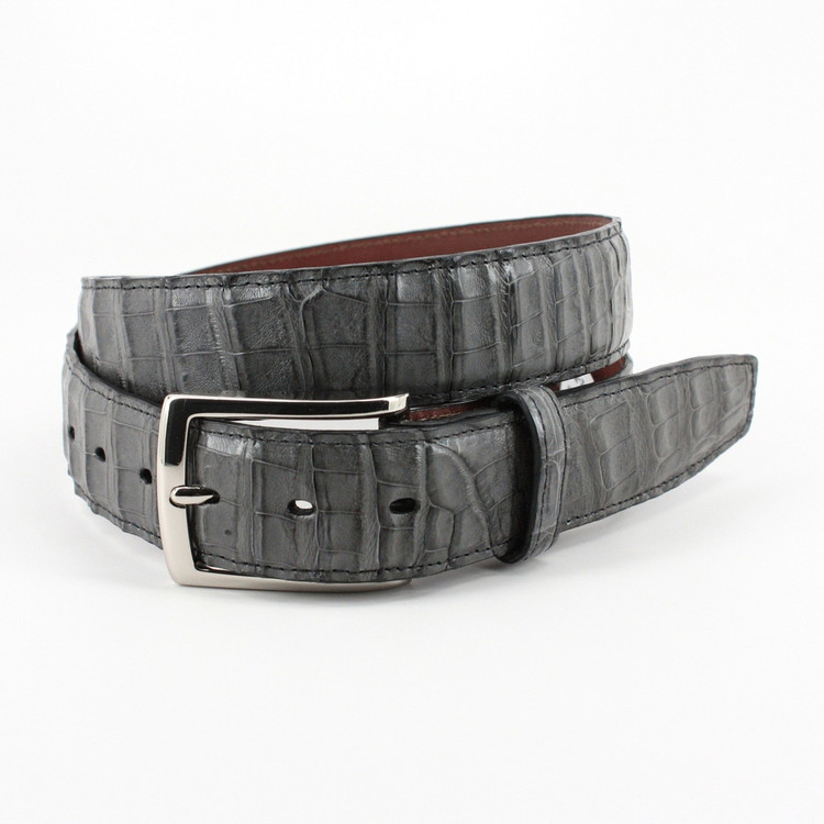 South American Caiman Belt in Grey by Torino Leather Co.