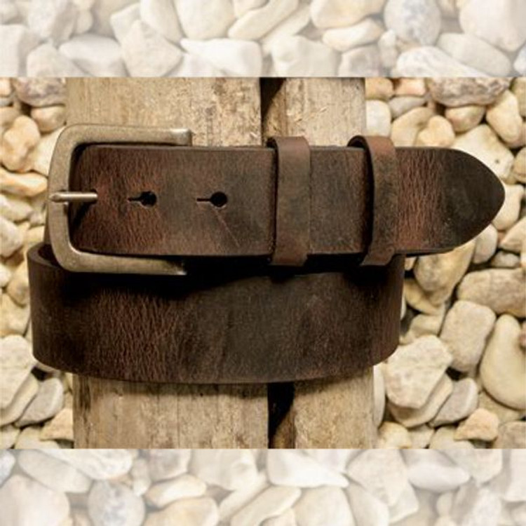 Distressed Waxed Harness Leather Belt in Antique Brown by Torino Leather Co.