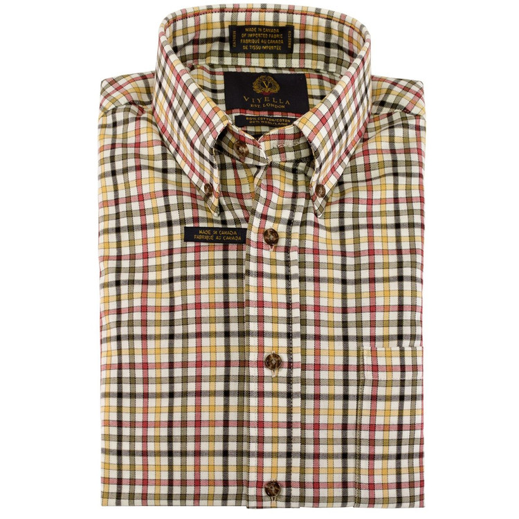 Cream, Olive, Red, and Yellow Plaid Button-Down Shirt by Viyella