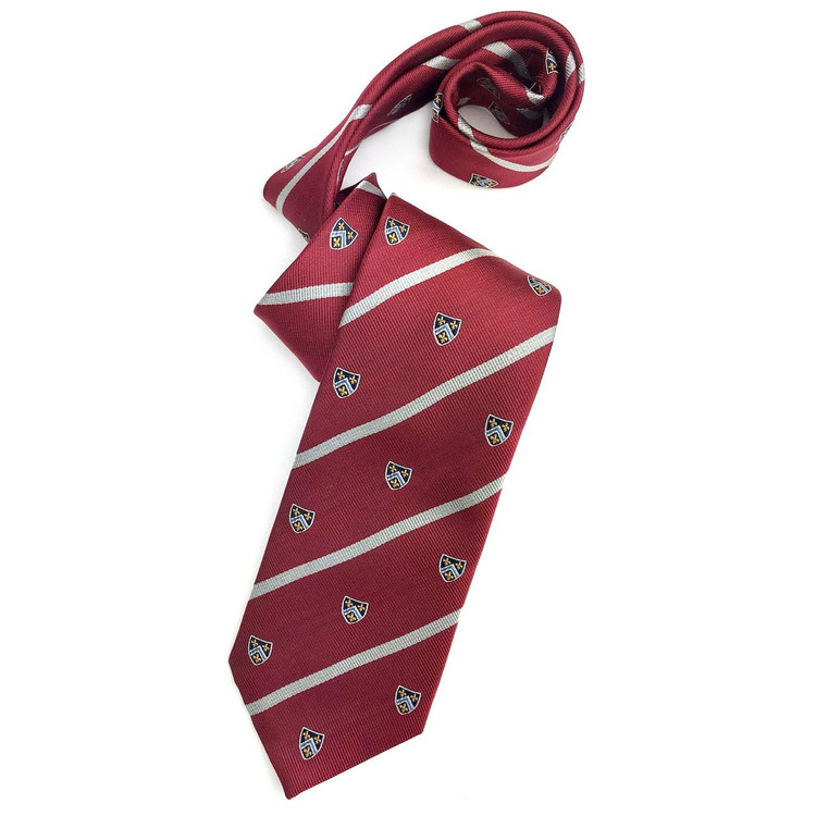 Red, Grey, and Navy Stripe Silk Club Tie by Robert Jensen