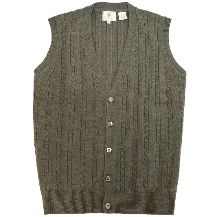 Merino Wool Cable Knit V-Neck Sweater Vest in Sage Melange by Viyella
