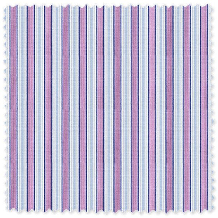 Blue and Purple Stripe 'Royal 120's' Cotton Broadcloth Custom Dress Shirt  by Skip Gambert