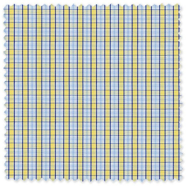 Blue and Yellow Plaid 'Royal 120's' Cotton Broadcloth Custom Dress Shirt  by Skip Gambert
