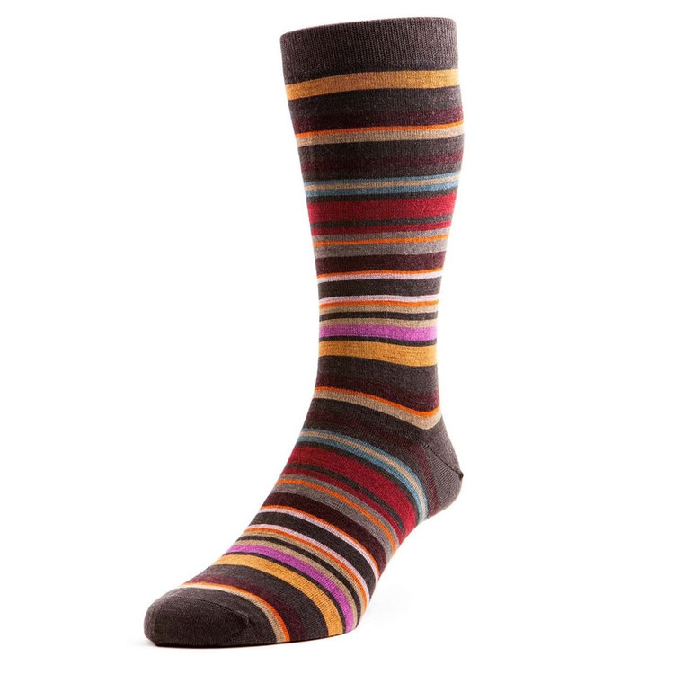Quakers All Over Stripe Merino Wool Long Anklet Sock in Chocolate by Pantherella