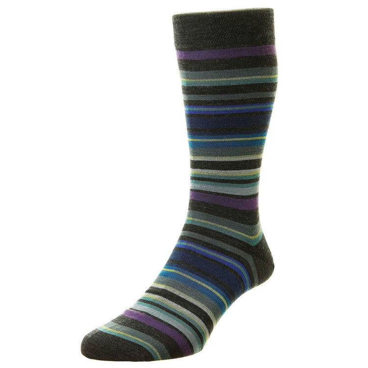 Quakers All Over Stripe Merino Wool Long Anklet Sock in Charcoal (Size Large Only) by Pantherella