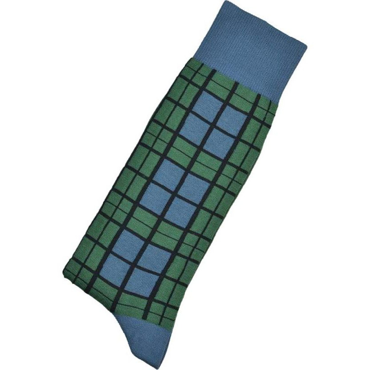 Hunter and Blue Tartan Peruvian Pima Cotton Socks Mid-Calf Closeout (Single Pair) by Byford