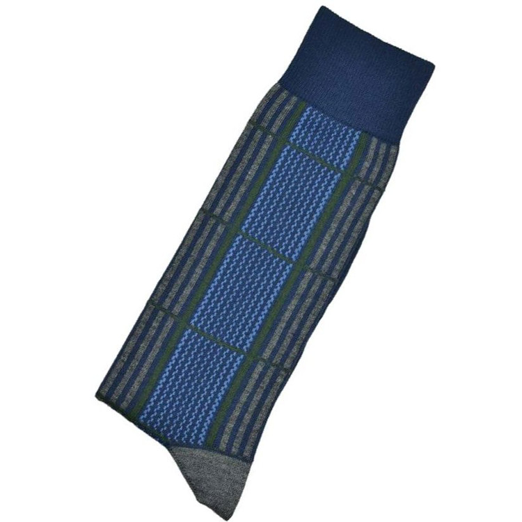 Blue, Grey, and Green Check Peruvian Pima Cotton Socks Mid-Calf Closeout (Single Pair) by Byford