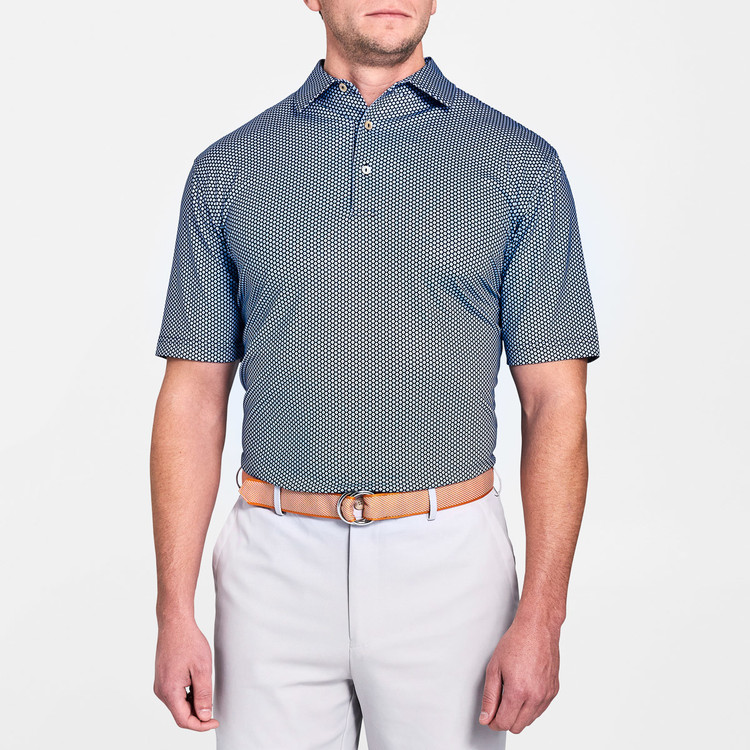 f6af3b99 Mordecai Printed Flower Medallion Stretch Jersey 'Crown Sport' Performance  Polo with Sean Self Collar in Yankee Blue by Peter Millar