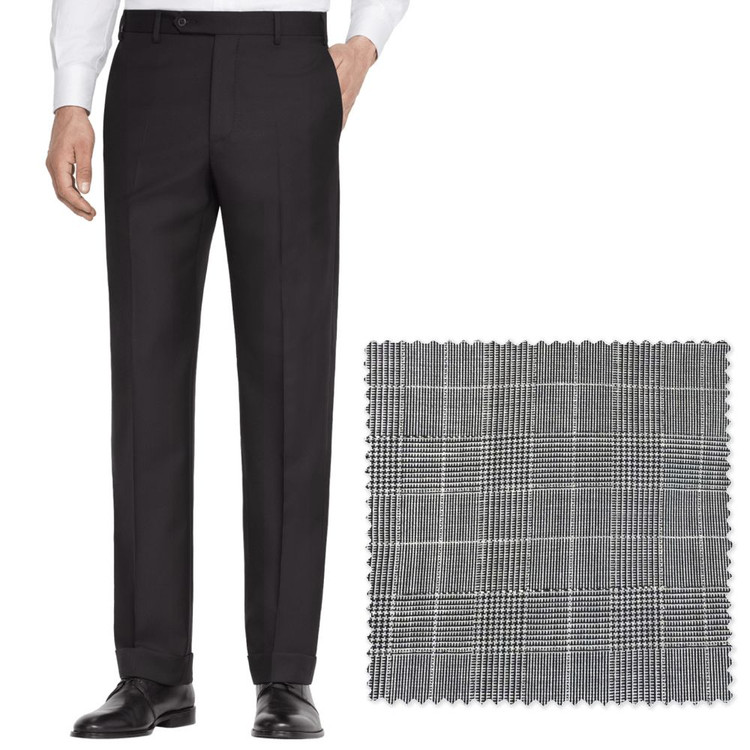 'Todd' Flat Front Lightweight Glen Plaid Wool Pant in Medium Grey by Zanella