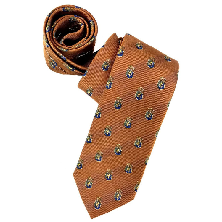 Bronze, Blue, and Green Subtle Stripe Lion Crest Silk  Club Tie by Robert Jensen
