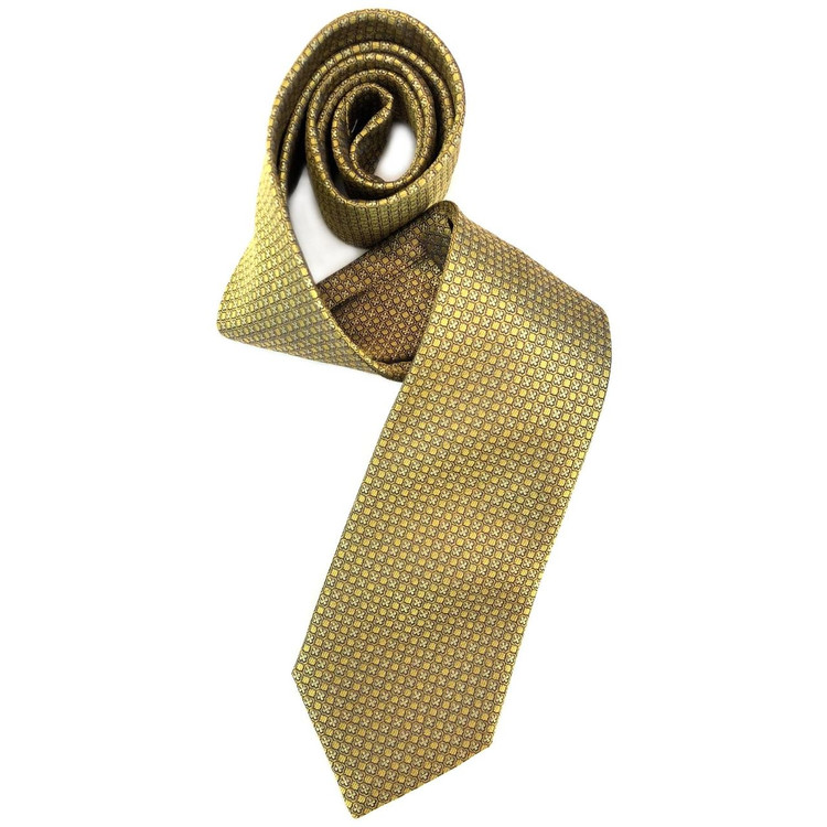 Yellow and Black Geometric Woven Silk Tie by Robert Jensen