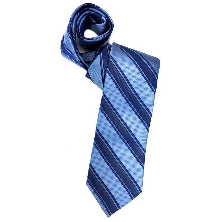 5733e9fcffa8 Spring 2018 Best of Class Navy and Sky 'Super Stripe' Woven Silk Tie by Robert  Talbott