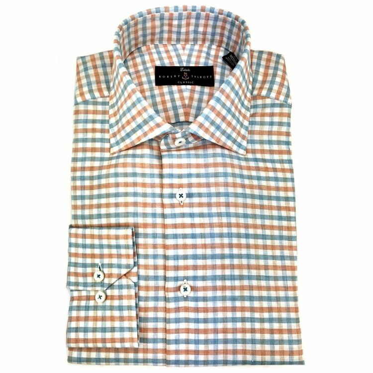 Papaya Lux Linen and Cotton Blend Mélange Check Estate Dress Shirt by Robert Talbott