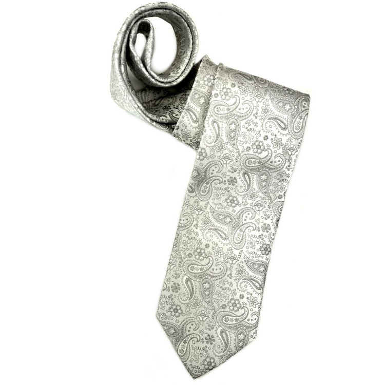 4ce9af7bf721 Spring 2018 Best of Class White and Grey Mini Paisley 'Robert Talbott  Protocol' Woven Silk Tie by Robert Talbott