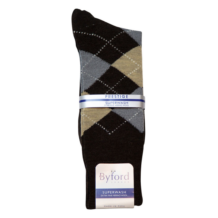 Black Argyle Superwash Merino Wool Socks (Mid-Calf) By Byford