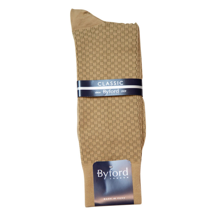 Khaki Link Design Peruvian Pima Cotton Socks Mid-Calf Closeout (Single Pair) by Byford