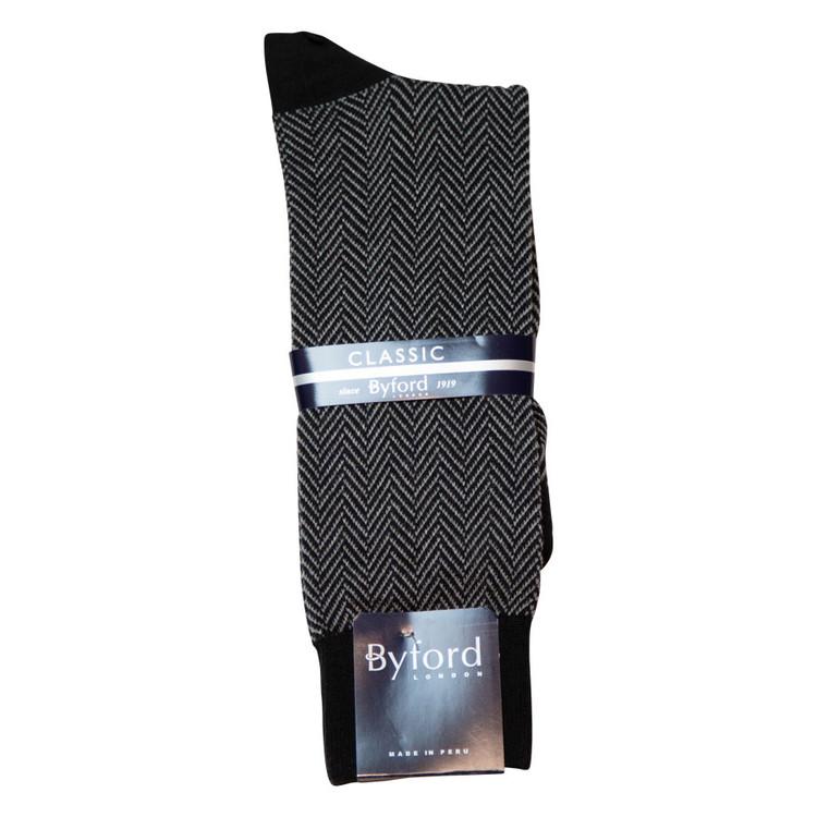 Black Herringbone Peruvian Pima Cotton Socks (Mid-Calf) by Byford