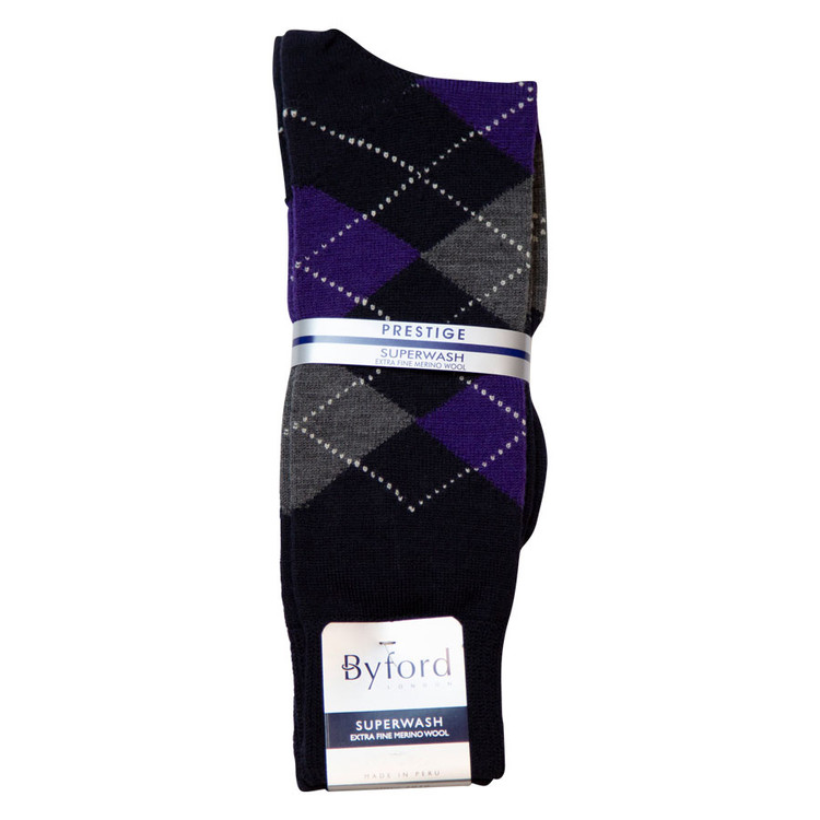 Navy Argyle Superwash Merino Wool Socks (Mid-Calf) by Byford