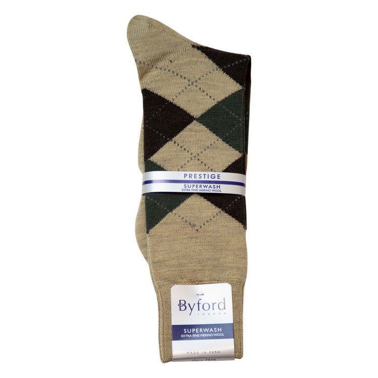 Khaki Argyle Superwash Merino Wool Socks (Mid-Calf) by Byford