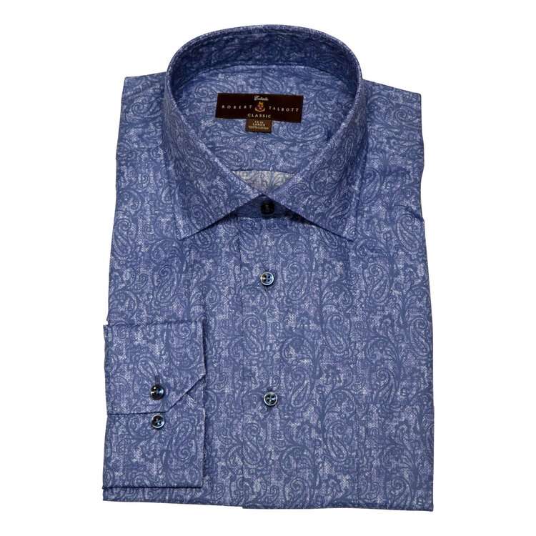 Ocean Blue Paisley Estate Dress Shirt by Robert Talbott