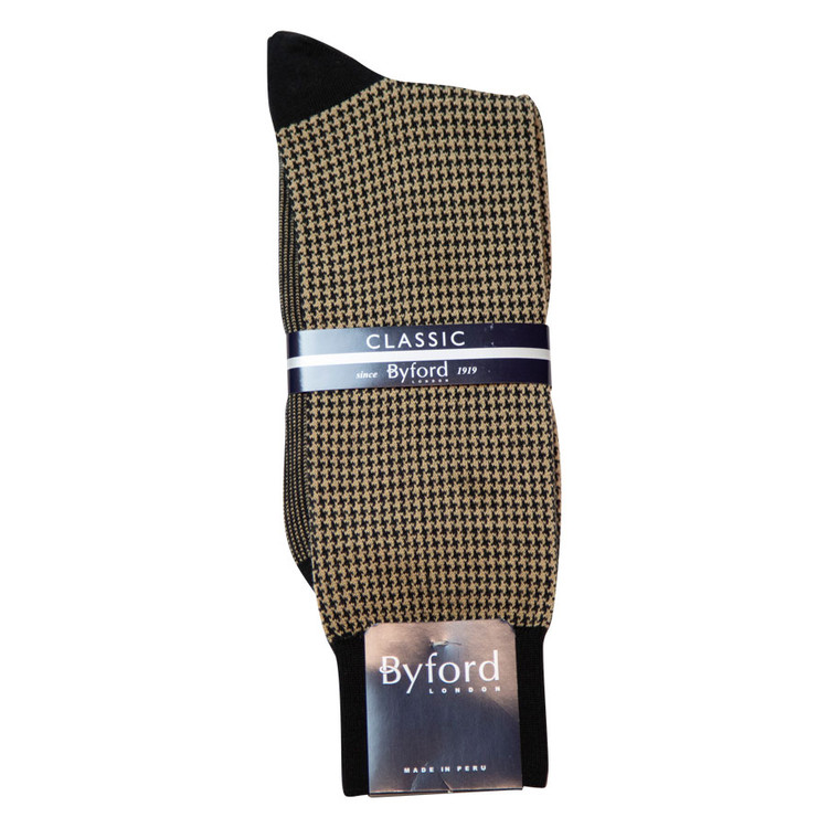 Black Houndstooth Peruvian Pima Cotton Socks (Mid-Calf) by Byford