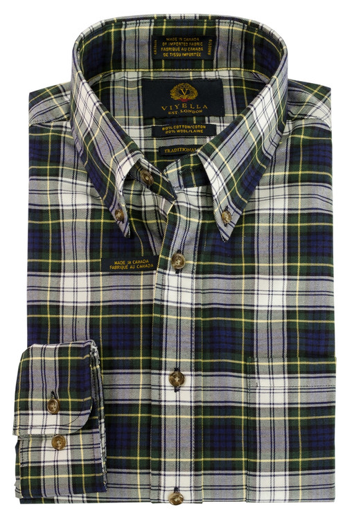Blue and Green Plaid Button-Down Shirt by Viyella