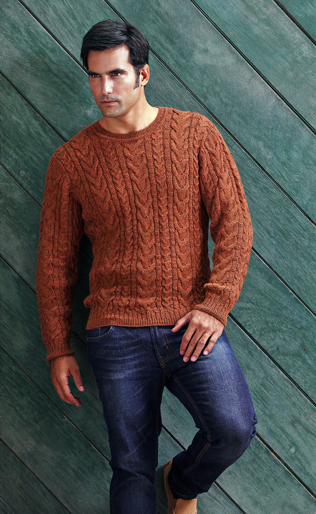 Baby Alpaca Cable Crew Neck Sweater in Choice of Colors by Peru Unlimited