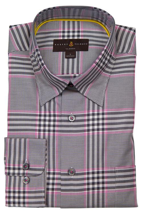 Grey and Pink Plaid 'Anderson II' Sport Shirt by  Robert Talbott