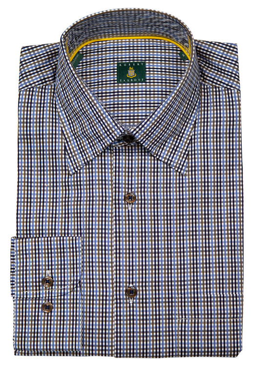 Blue and Brown Stripe 'Anderson II' Sport Shirt by Robert Talbott