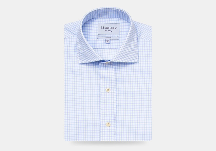 The Light Blue Kimball Check Dress Shirt by Ledbury