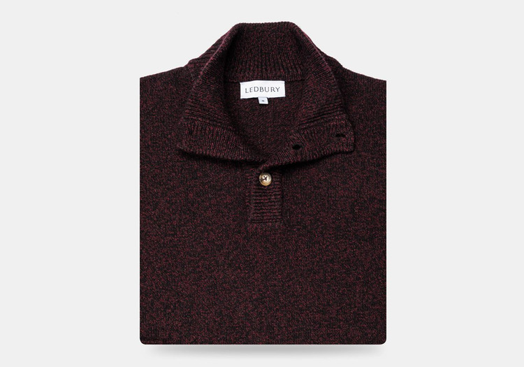 The Dark Burgundy Brewer Mock Neck Sweater by Ledbury