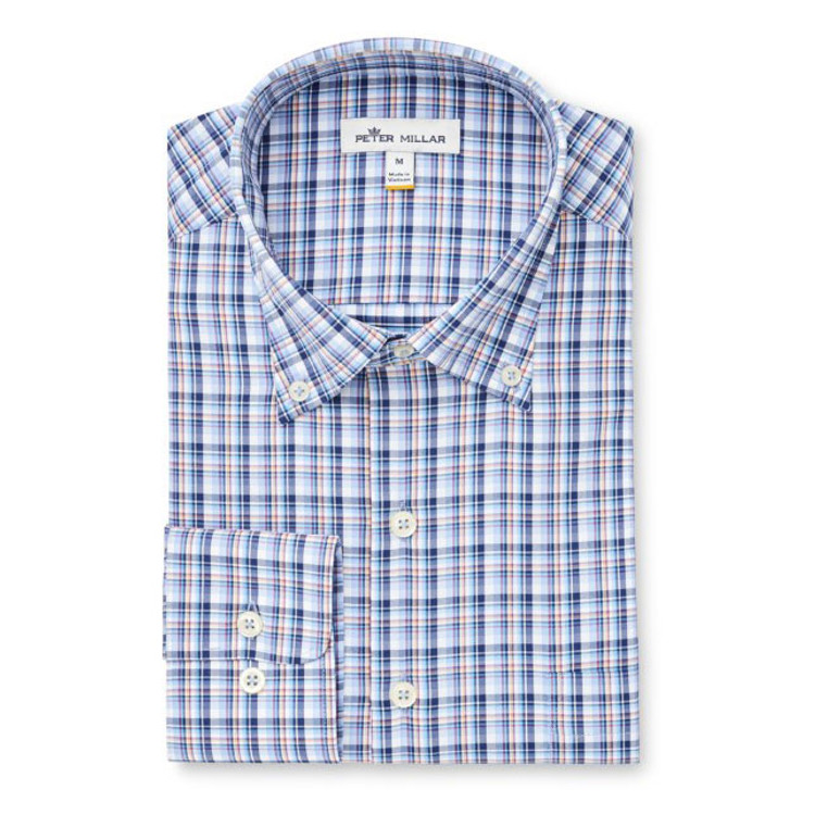136f252a1020 Stribling Plaid Performance Stretch Sport Shirt in Cottage Blue by Peter  Millar