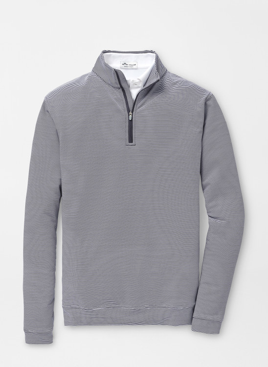 Perth Mini-Stripe Stretch Loop Terry Quarter-Zip Performance Pullover in Navy by Peter MIllar