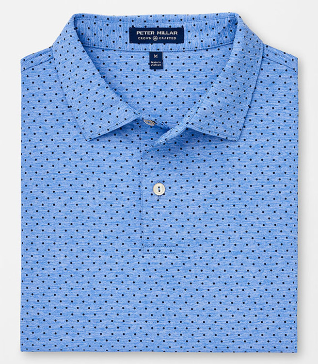 eff512bc Crown Crafted Count Polka Dot 'Crown Sport' Performance Polo with Sean Self  Collar in Vessel by Peter Millar
