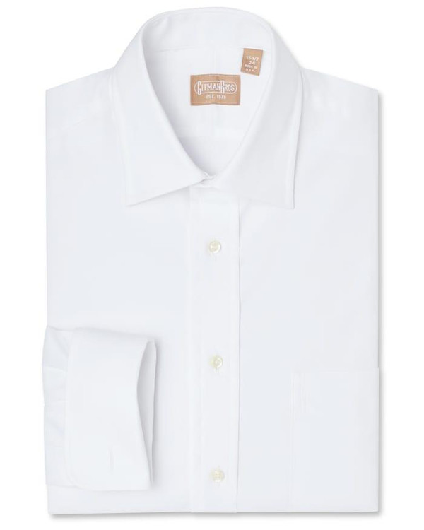 Pinpoint Dress Shirt with Medium Spread Collar and French Cuff in White by Gitman Brothers