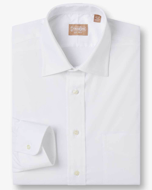 WEBA Stretch Dress Shirt with Medium Spread Collar in White by Gitman Brothers