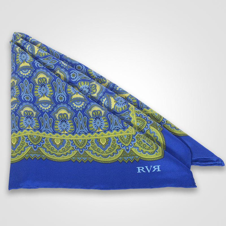 Goa / Green Pocket Square by RVR Neckwear
