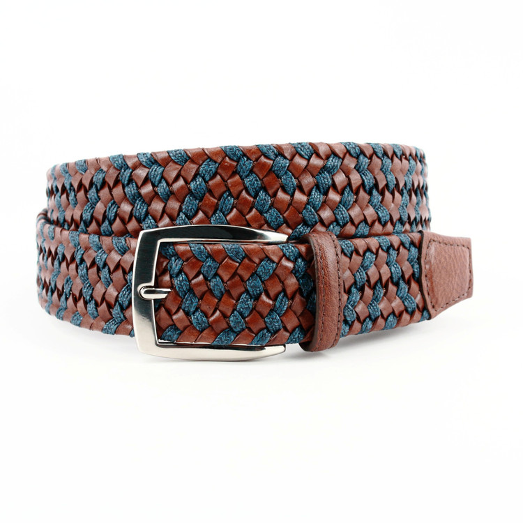 Italian Braided Leather & Linen Belt in Cognac/Navy (EXTENDED SIZES) by Torino Leather Co.