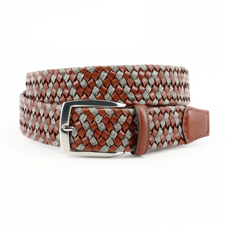 Italian Braided Leather & Linen Belt in Cognac/Taupe (EXTENDED SIZES) by Torino Leather Co.