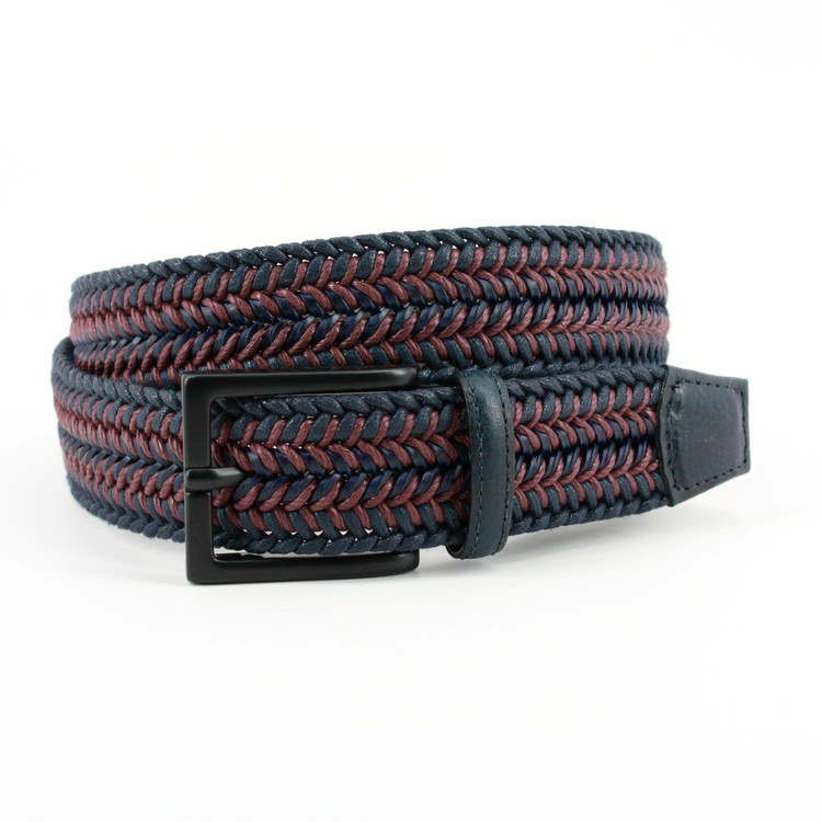 Italian Woven Cotton & Leather Belt in Navy/Burgundy (EXTENDED SIZES) by Torino Leather Co.