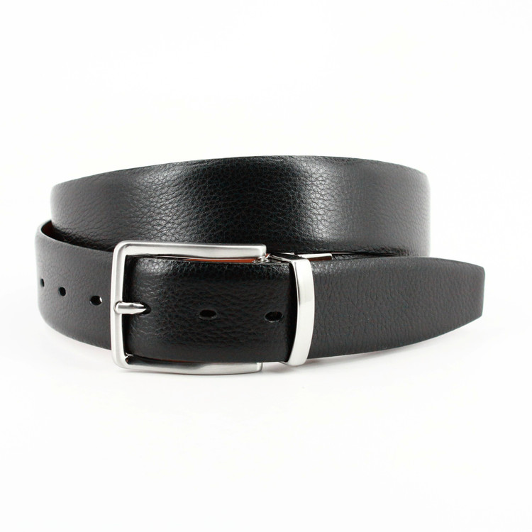 Reversible Italian Glazed Milled Calfskin Belt in Black to Saddle Tan by Torino Leather Co.