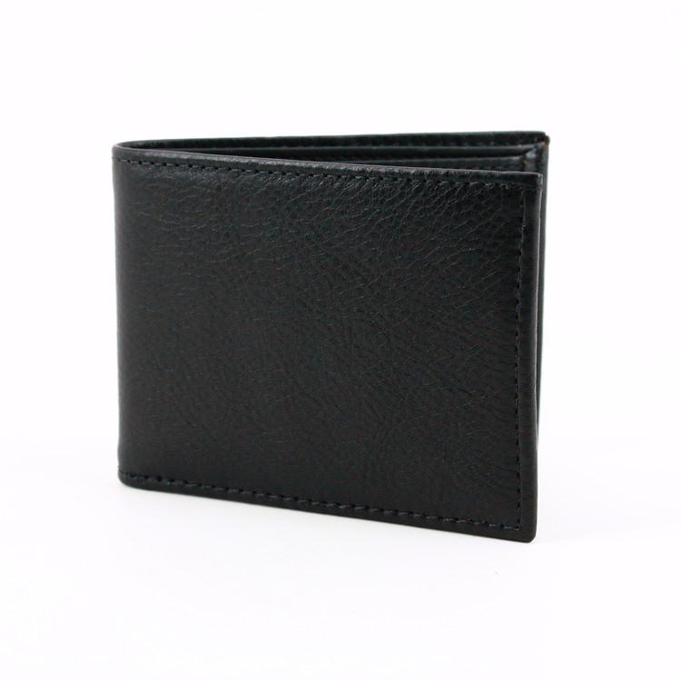 Italian Glazed Milled Calfskin Leather Billfold Wallet in Balck by Torino Leather Co.