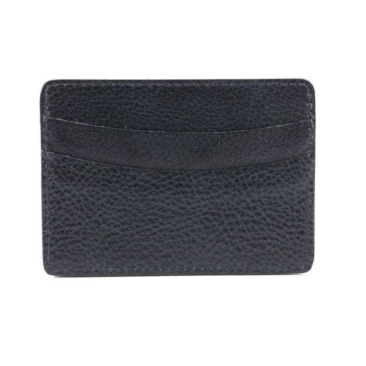 Italian Glazed Milled Calfksin Leather ID/Card Case in Black by Torino Leather Co.