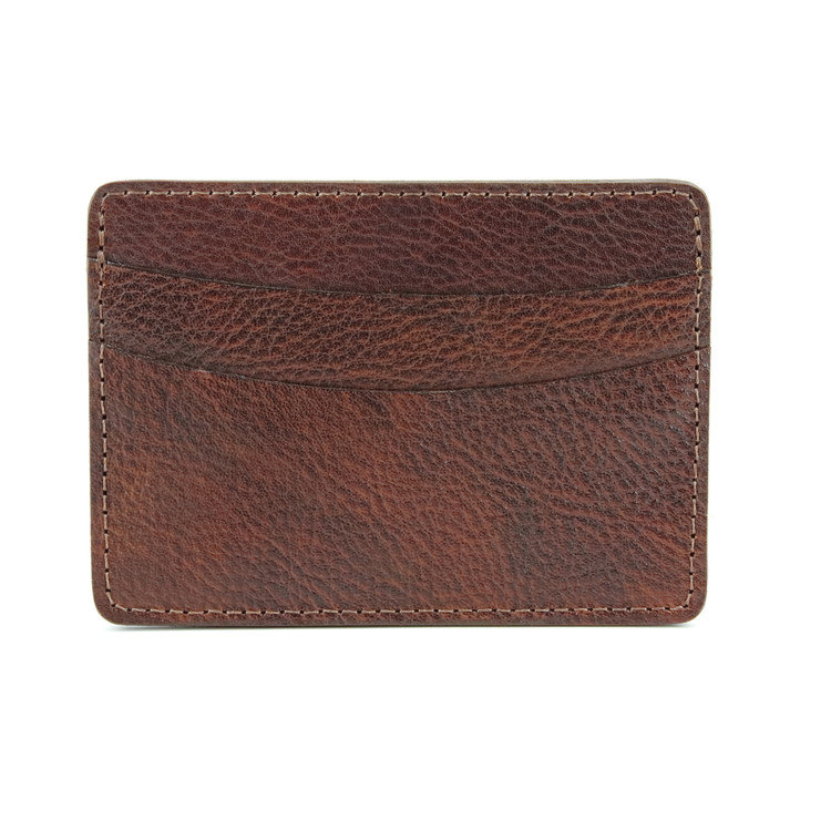 Italian Glazed Milled Calfksin Leather ID/Card Case in Brown by Torino Leather Co.