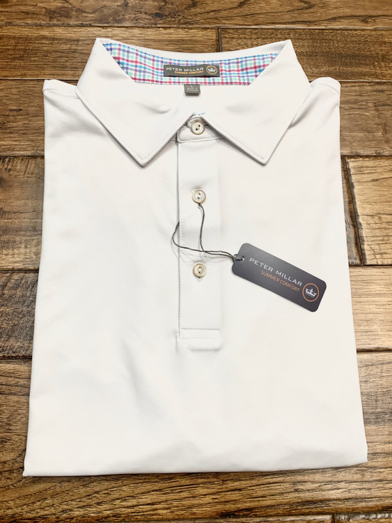 Solid Contrast Woven Trim  'Crown Sport' Performance Polo with Sean Self Collar in White and Mulberry by Peter Millar