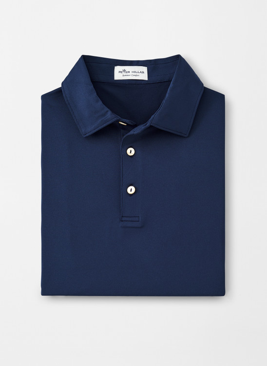 Solid Stretch Jersey 'Crown Sport' Performance Polo with Sean Self Collar in Navy by Peter Millar